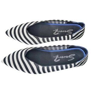 Seven7 Striped Navy Pointed Toe Flats 6